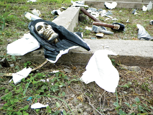 Seen on Wednesday is all that remains of the controversial Santa Muerte statue located at the San Benito Municipal Cemetery. (Staff photo)