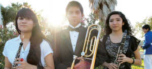 Members of the Berta Cabaza Middle School Band who were tabbed for the All-Region Band are shown. They are (from l-r) Gabriella Beltran (first chair oboe, wind symphony band), Damien Rodriguez (first chair trombone, symphonic winds band) and Victoria Vasquez (second chair clarinet, symphonic winds band). (Courtesy photo)