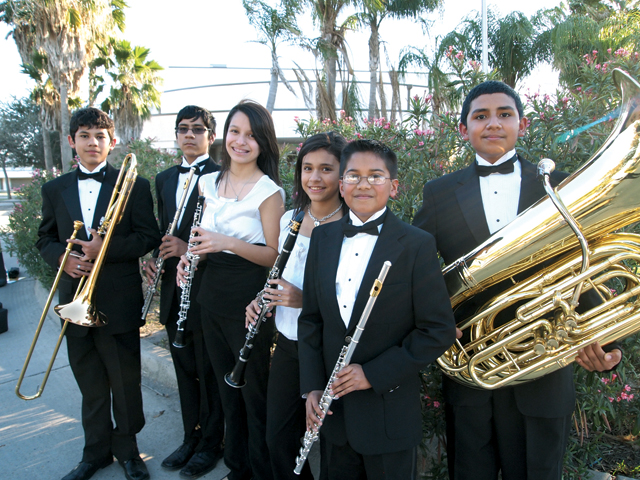Miller Jordan Middle School Band students who received All-Region honors are pictured (from l-r); they are Javier Hernandez, third chair, Trombone Honor Band; Luke Rodriguez, sixth chair, Flute Honor Band; Angela Nunez, second chair, Oboe Symphonic Winds; Megan Escobedo, first chair, Clarinet Wind Symphony; Arturo Sanchez, sixth chair, Flute Symphonic Winds; and Christopher L. Hernandez, fifth chair, Tuba Wind Symphony. (Courtesy photo)