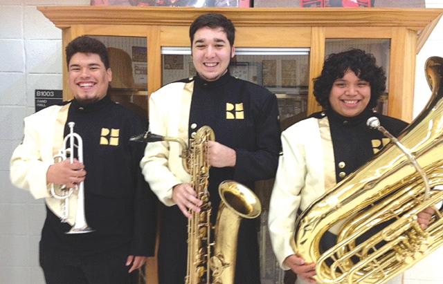 Rio Hondo High School band students Jose Vasquez, trumpet, Joshua Ysaguirre, baritone saxophone, and Pedro Tovar Jr., tuba, earned spots in the ATSSB All-State Band. (Courtesy photo)