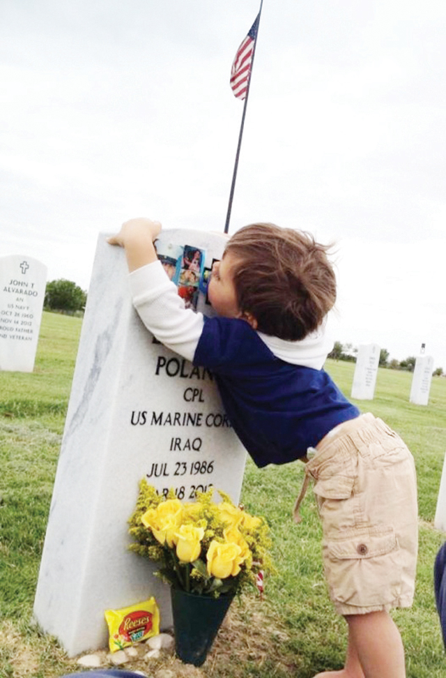 Twenty-three month-old Evan Polanco is seen at his father's, Eddie Polanco's (below) grave at the Rio Grande Valley Veteran's State Cemetery on Easter Sunday 2012. (Courtesy photos)