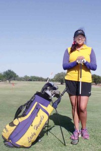 San Benito High School sophomore Emma Valle is seen at the Tony Butler Municipal Golf Course in Harlingen, where she often practices to perfect her game. Practice has paid off as Valle is the sole regional qualifier from SBHS. (Staff photo by Francisco E. Jimenez)