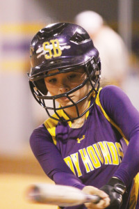 The San Benito Lady 'Hounds find themselves in a best-of-three series with Edinburg North in this the area round of the 5A softball playoffs. (Photo by T.J. Tijerina)