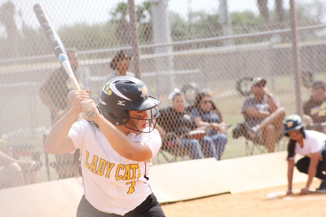 Rio Hondo Lady Bobcats senior Iraida Garcia is shown at the plate during a playoff game against the Raymondville Lady Bearkats. (Photo by T.J. Tijerina)