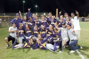The San Benito Lady Greyhounds celebrate at Cabaniss Field in Corpus Christi on Friday, May 17, after deafting the San Antonio O'Connor Lady Panthers. (KSBG TV photo by Isabel Alicia Gomez)