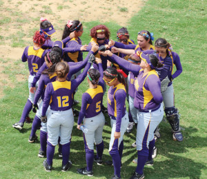 The San Benito Lady Greyhounds are seen in Laredo on Friday, May 10, before taking on the Eagle Pass Lady Eagles. (KSBG TV photo by Isabel Alicia Gomez)