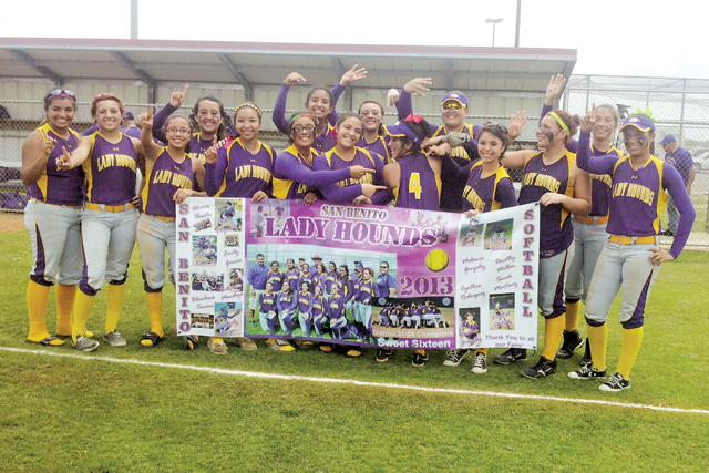 The San Benito Lady 'Hounds are seen Saturday after defeating Smithson Valley and earning a trip to the Final Four, a first for a Rio Grande Valley varsity softball squad. (KSBG TV photo by Isabel Alicia Gomez)