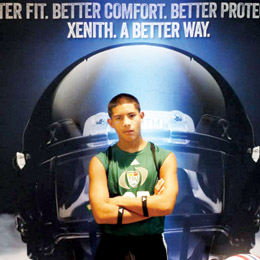 """Courtesy photo Brandon Michael Villarreal, a middle linebacker at Berta Cabaza Middle School, showed off his skills at an """"invitation only"""" Football University """"TOP GUN"""" Camp held in Dublin, Ohio this past weekend."""