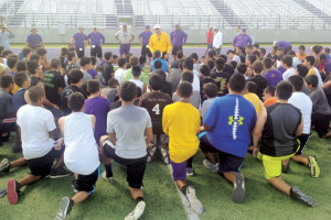 San Benito News photos by Michael Rodriguez Local athletes are seen taking instruction from coaches and San Benito Greyhounds Head Coach/AD Spencer Gantt Monday, the first day of the underclassmen football camp held annually at Bobby Morrow Stadium.