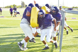 San Benito News photos by Francisco E. Jimenez The San Benito Greyhounds are shown Friday during their first day of practice in full gear at Bobby Morrow Stadium.