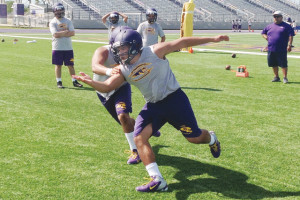 San Benito News photo by Michael Rodriguez The San Benito Greyhounds varsity football squad hit the ground running during the first day of practice on Monday in preparation for the 2013 season.