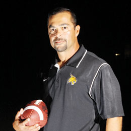 Photo by Justin Tijerina Rio Hondo Bobcats Head Football Coach Rocky James is seen at Bobcat Stadium prior to the start of the 2013 season.