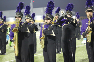 Photo by T.J. Tijerina Members of the San Benito High School Mighty Greyhound Marching Band are shown at Bobby Morrow Stadium during the Sept. 27 halftime performance.