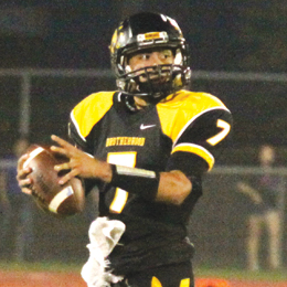 Photo by T.J. Tijerina Eli Pitones, junior quarterback of the Rio Hondo Bobcats, is shown prior to firing the ball down the field during a home game on Sept. 27.