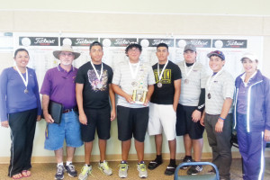 Courtesy photo Shown, from left to right, at the Harlingen Invitational Golf Tournament held recently are members of the San Benito High School golf team, Emma Valle, Coach Rene Montalvo, Francisco Guerra, Ben Valle, Daniel Guerra, Mark Gonzalez, Ruben Reyes and Coach Olga Garza.