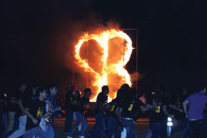 """KSBG-TV/SBCISD photo by Isabel Alicia Gomez Pictured is a scene from last year's Burning of the """"SB,"""" which was part of Homecoming festivies, held in November at the old Greyhound Stadium."""