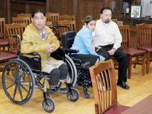 San Benito News photo by Francisco E. Jimenez Ralph Hernandez and his 17-year-old daughter Alexandria Hernandez are seen along with her uncle, Noe Trevino (right), at a pretrial hearing inside the San Benito Municipal Building on Friday.