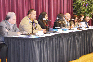San Benito News photo by Francisco E. Jimenez Members of the San Benito CISD Board of Trustees are seen at Veterans Memorial Academy on Tuesday just as they make the motion to approve the resignation of athletic director/head football coach Spencer Gantt.