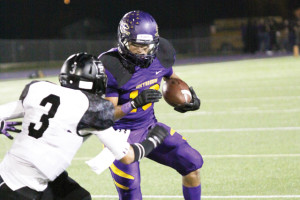 Photo by T.J. Tijerina San Benito Greyhound sophomore wideout Armando Medrano is seen during 2013 football action against the Weslaco East Wildcats. After Monday's UIL Realignment meeting, it's possible that the Greyhounds may not be playing the Wildcats next fall.
