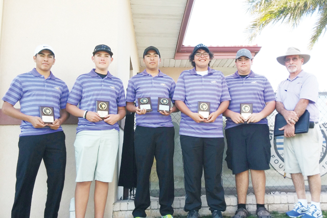 Courtesy photo The San Benito High School varsity boys golf team participated at this week's Sharyland Invitational Golf Tournament held at Shary Golf Course in Mission from Jan. 25-27. The scores for the tournament are as follows: Francisco Guerra hit 76 and 78 to score 154, Ben Valle hit 81 and 79 to total 160, Daniel Guerra shot 85 and 80 to tally 165, Mark Gonzalez hit 94 and 99 to score 193, and Aaron Gonzales shot 95 and 95 to score 190. The team finished in third place out of 20 teams and received plaques. Guerra finished as third place medalist out of a field of 93 players.