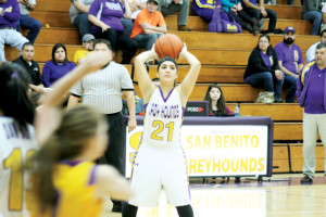 Photo by Selena Bocanegra The San Benito Lady Greyhounds varsity basketball team secured a playoff berth Tuesday with a victory over PSJA. San Benito is now scheduled to take on Harlingen on Monday, Feb. 10.
