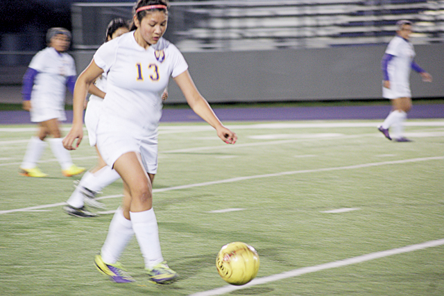 Photos by Andrea Mosqueda The San Benito Lady 'Hounds soccer team improved to 4-1 in District 31-5A on Tuesday night with a 3-0 win over Weslaco East at Bobby Morrow Stadium. The girls have started district play quickly and are in second place in the league. Chantell Pecina had a tremendous game, scoring two goals while Hermelinda Casas contributed a goal of her own. The Lady 'Hounds continued district play against McAllen on Friday, Feb. 7, as they aim to qualify for another state playoff berth. The team is coached by Frank Ibarra.