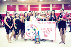(Photo courtesy of Rio Hondo High School) RHHS Winterguard Rio Hondo High School Band Winterguard members shown (front, left to right) are Lizette Ortega, Nayda Flores, Esmeralda Villanueva, Melissa Duran (captain), Jasmine Reyes, Jasmine Tamez and Amelia Leal (captain); (back, l-r) Danielle Perez, Linda Lee Gonzales, Nick Lopez, Amanda De Leon, Jenna Mejia and Jackie Buchanan.