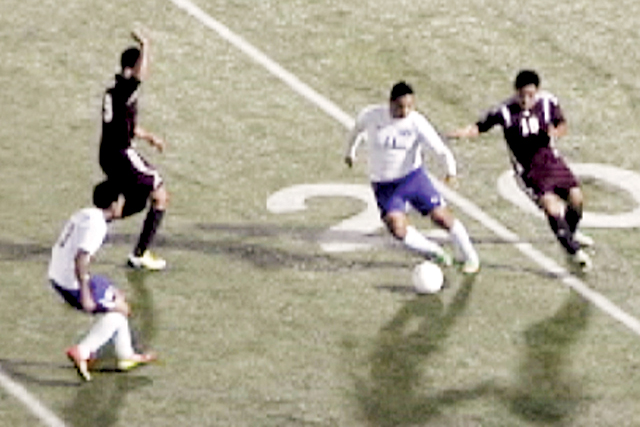 (Photo courtesy of David Cortez, SBCISD/KSBG) The San Benito High School varsity soccer team fell in the first round of the playoffs Thursday at Bobby Morrow Stadium. The Greyhounds lost to the Los Fresnos Falcons by a score of 2-0.