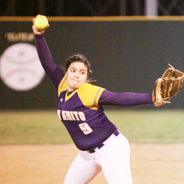 (Photo by T.J. Tijerina) San Benito Lady Hounds pitcher Crystal Castillo delivers a pitch in recent varsity softball action.