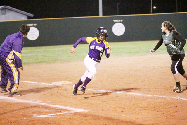 (Photo by T.J. Tijerina) The San Benito Lady 'Hounds were victorious Tuesday night against PSJA Memorial, which now sets up a 31-5A clash with possible title implications against Nikki Rowe on Friday.