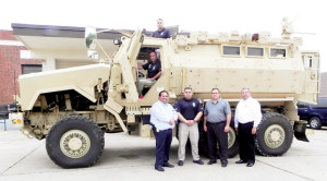 (Photo courtesy of the City of San Benito) A $733,000 Mine Resistant Ambush Protection Vehicle was received free of charge by the City of San Benito on Friday. The two-year-old, multi-use armored tank was delivered at no cost to the City for emergency rescue and police crime use.