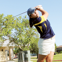 (Photo by Isabel Alicia Gomez, KSBG/SBCISD) San Benito High School golfers Emma Valle and Francisco Guerra are preparing to compete at the Region IV Golf Tournament in Kerrville next week.