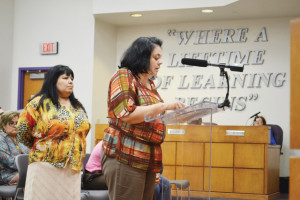 (Staff photo by Francisco E. Jimenez) Seventh grade ELA teacher Herminia Garcia is seen addressing the San Benito CISD Board of Trustees Tuesday evening along with fellow educator Irma Clark.
