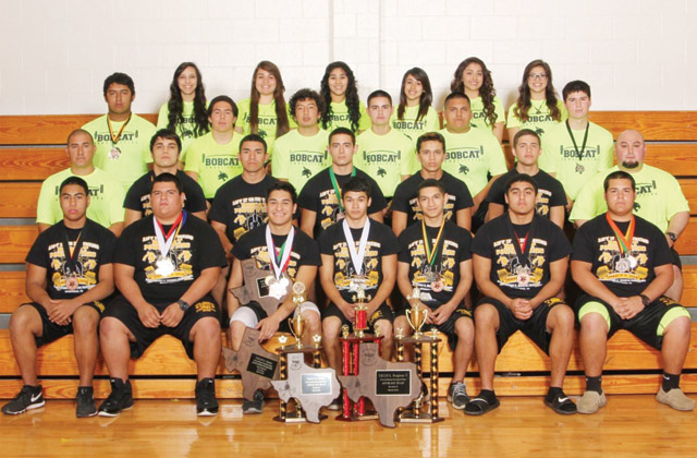 (RHISD photo) Members of the Rio Hondo High School boys and girls powerlifting teams are pictured; they are: (first row, from left to right) Stephen Dorado, John Reyes, Alan Alfaro, Ralph Zapata, Julian Ortega, Isaiah Heredia, Caleb Robertson; (second row) Coach Sauceda, Abram Ramirez, Roel Benitez, Joey Guzman, Heliseo Guerrero, Julian Flores, Coach Garza; (third row) Mando Ruvio, Daniel Flores, Pedro Alvarez, Javier Guzman, Manny Hernandez, Joey Guzman; (fourth row) Rebekah Medieros, Amber Benitez, Shelby Lara, Tracy Escamilla, Briana Acevedo and Crystal Olivarez. Not pictured are Rebecca Acevedo, Alyssa Vega and Makayla Reyes. In the 2014 THSWPA State Powerlifting Championships, Crystal Olivarez placed second place (132 pound division); Shelby Lara placed 15th (165) and Amber Benitez placed 10th (198). Rio Hondo powerlifters, as teams, have placed at 2014 meets no lower than sixth place.