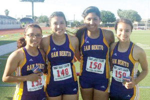 (Courtesy photo) Members of the San Benito Lady Greyhound track and field team recently competed in the Area Track Meet at Bobby Lackey Stadium in Weslaco.