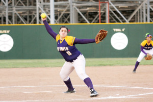 (Photo by T.J. Tijerina) San Benito Lady 'Hounds junior pitching sensation Crystal Castillo is seen unwinding against Harlingen at Lady 'Hounds Field on Thursday.