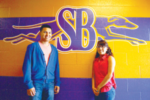 (Staff photo by Francisco E. Jimenez) The 2013-14 San Benito News Sportsmen of the Year, seniors Nathan Mireles and Amber Jasso of San Benito High School, are seen inside the campus' sports complex on Tuesday.