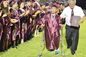 (LFCISD photo) Los Fresnos High School graduating senior Chris Ortega reportedly received a standing ovation at the LFHS Commencement ceremony Saturday.