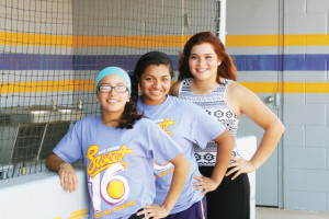 (Photo by Marina Wise-Herring) San Benito High School softball athletes Amber Jasso, Clarissa Huerta and Dorothy Millian are recently shown outside the Lady 'Hounds dugout. The softball standouts have recently graduated from SBHS but not before representing their alma mater at the annual All-Star softball game.