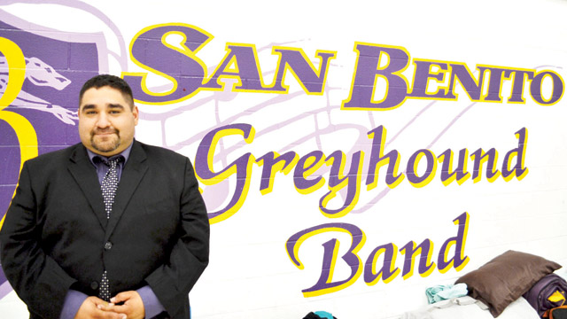 (Staff photo by Francisco E. Jimenez) Mark Perea has been named the new head band director for the San Benito High School Mighty Greyhound Marching Band.