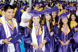 (Staff photo by Francisco E. Jimenez) San Benito High School graduating seniors are seen Friday during graduation ceremonies at Bobby Morrow Stadium.