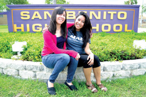 (Staff photo by Michael Rodriguez) Valedictorian Andrea Rose Mosqueda (left) and salutatorian Marleny Sanchez are pictured outside San Benito High School on Tuesday.