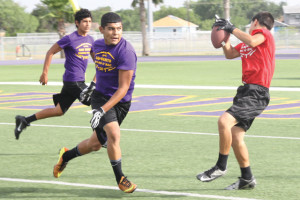 (Photo by T.J. Tijerina) San Benito and Harlingen competitors of a 7-on-7 football tournament held at Bobby Morrow Stadium Monday, June 30, are pictured.