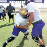 (Photos by Mathew Zuniga) The San Benito Greyhounds are seen during Tuesday afternoon workouts at Bobby Morrow Stadium. The team is currently preparing for their sole scrimmage against PSJA North on Friday.