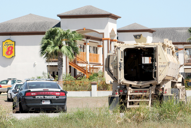 (Photo by Edward Cruz) Law enforcement authorities from various agencies converged at a local hotel in San Benito on Tuesday where a man reportedly barricaded himself and allegedly threatened to shoot police.