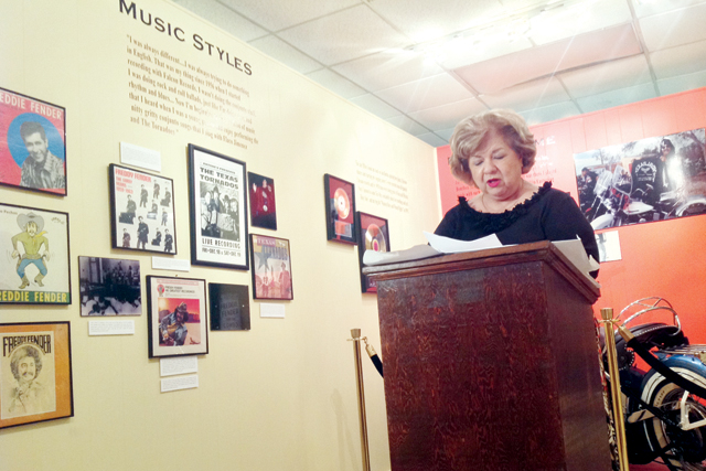(Staff photo by Jacob Lopez) San Benito Mayor Celeste Z. Sanchez announced on Tuesday, Sept. 24, the four recipients of the Freddy Fender Humanitarian Awards. The announcement was made inside San Benito's inside the Freddy Fender Museum.