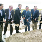 (Staff photos by Jacob Lopez) Local, state and federal officials are seen breaking ground on the SpaceX launch site at Boca Chica Beach in Brownsville Monday, Sept. 22. Among those shown are SpaceX CEO Elon Musk (third from left), State Senator Eddie Lucio Jr. (fourth from left), State Representatives Rene O. Oliveira (fifth from left) and Eddie Lucio III (far left).