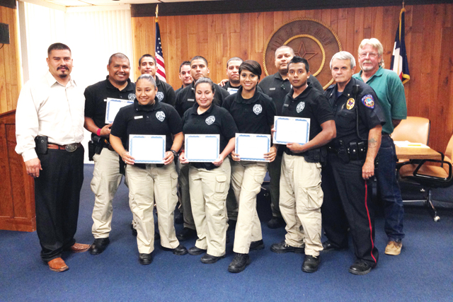 (Staff photo by Jacob Lopez) Members of the Rio Hondo City Commission recognized cadets from the Texas State Technical College (TSTC) police academy Tuesday evening for assisting at recent festivities held in Rio Hondo.