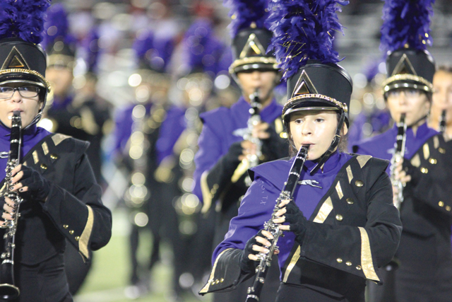 (Staff photo by Ray Quiroga) The San Benito High School Mighty Greyhound Marching Band is currently preparing for Saturday's Pigskin Jubilee.