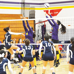 (Courtesy photo) Monica Garcia (No. 10) of the San Benito High School varsity volleyball squad is seen attempting a block against Brownsville Lopez on Saturday, Sept. 27. Garcia racked up 15 kills and two blocks against Harlingen South on Tuesday, Sept. 30.